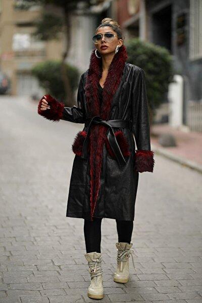 Kadın Siyah Uzun Nubuk Kırmızı Kürklü Kaban