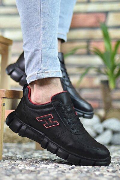 Siyah Siyah Kırmızı Erkek Sneaker 0012344