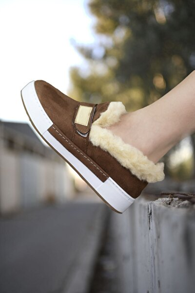 Kahverengi Beyaz Kadın Kürklü Sneaker 0012H01