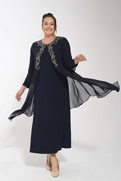 Kadın Lacivert Büyük Beden Önü Serpme Yapıştırma Taşlı Şifon Elbise
