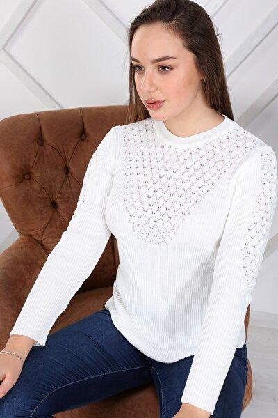 Kadın Beyaz Bisiklet Yaka Önü Ve Kolları Taş Detaylı Kışlık Triko Kazak 6014/2064
