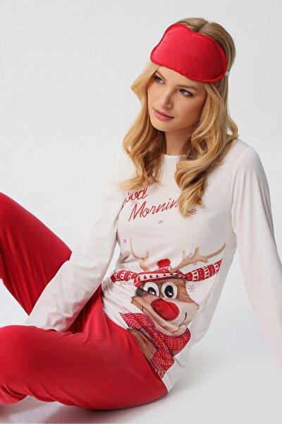Kadın Beyaz Uyku Bantlı Bisiklet Yaka Yılbaşı Geyik Baskılı Pijama Takım ALC-X5319
