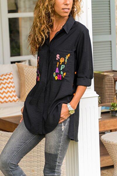 Kadın Siyah Cepleri Nakışlı Yanı Düğmeli Gömlek GK-AYN1715
