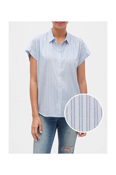 Kadın Çizgilli Kısa Kollu Gömlek 550883