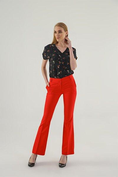 Kalın Kemerli Cepli Ispanyol Bol Paça Likralı Kumaş Pantolon-kırmızı
