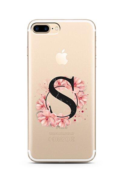 Iphone 7 Plus S Harfi Pembe Çiçekli Harf Tasarım Süper Şeffaf Silikon Telefon Kılıfı