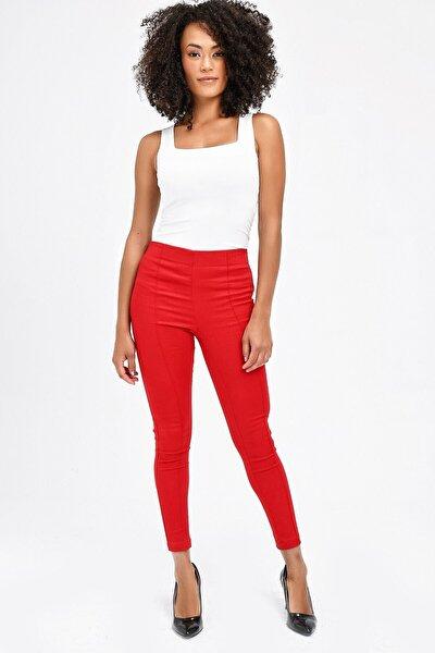 Kadın Kırmızı Ön Arka Dikişli Dar Paça Tayt Pantolon 40004