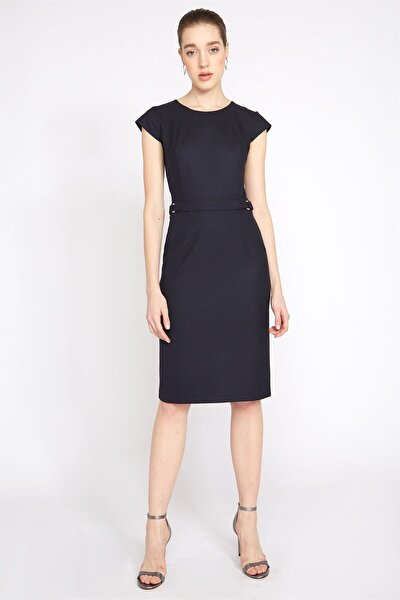 Kadın Lacivert Metal Tokalı Elbise