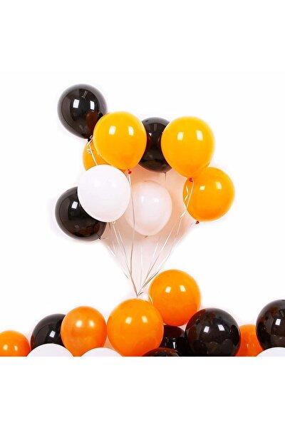 15 Adet Turuncu - Beyaz- Siyah Metalik Balon 3'lü Renk - 12 Inç