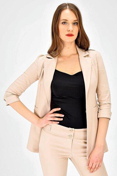 Kadın Bej Yakalı Kapri Trovakar Kol Süs Cepli Kopçalı Ofis Şık Ceket 2271