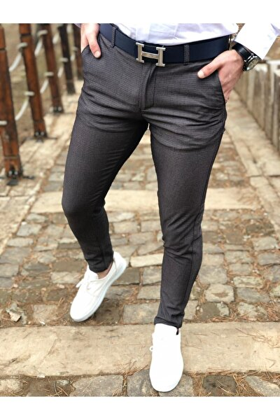 Erkek Petek Desen Keten Pantolon