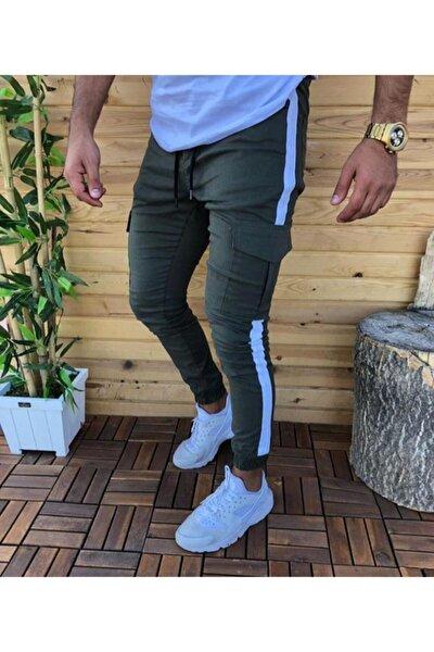 Erkek Yeşil  Yandan Çizgili Kargo Cep  Pantolon
