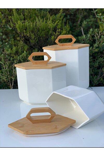 Prizma Kavanoz Seti Porselen Bambu