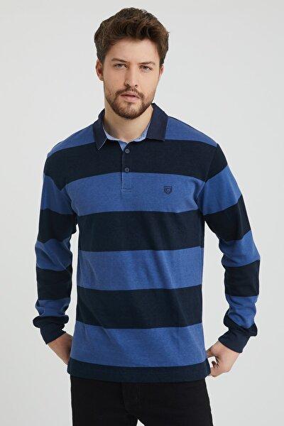 Erkek Indigo Polo Yaka Çizgili Nakış Detaylı Sweatshirt