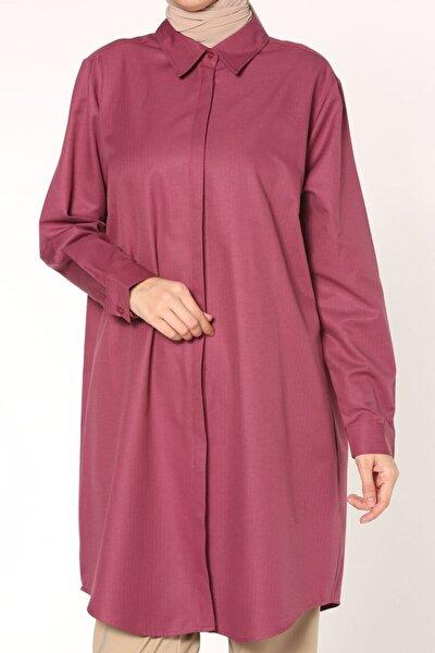 Kadın Bordo Büyük Beden Gömlek Tunik