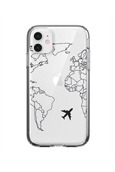 Iphone 11 World Map Lines Premium Şeffaf Silikon Kılıf Siyah Baskılı