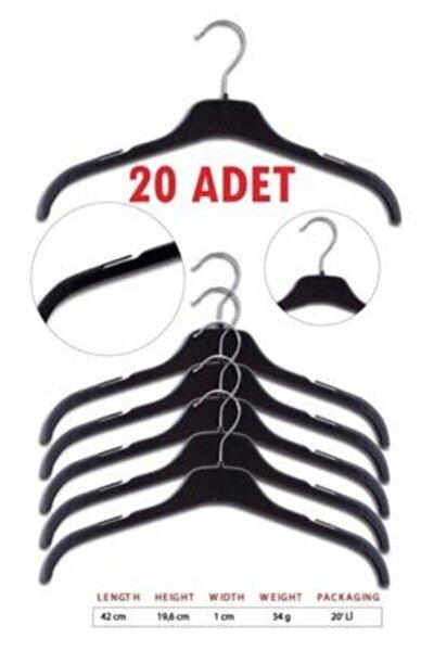20 Adet Plastik Elbise Askısı Çentikli Döner Başlıklı Kıyafet Askı 42 Cm