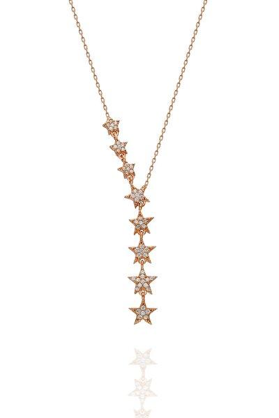 Kadın 925 Ayar Gümüş Sıralı Yıldız Kolye