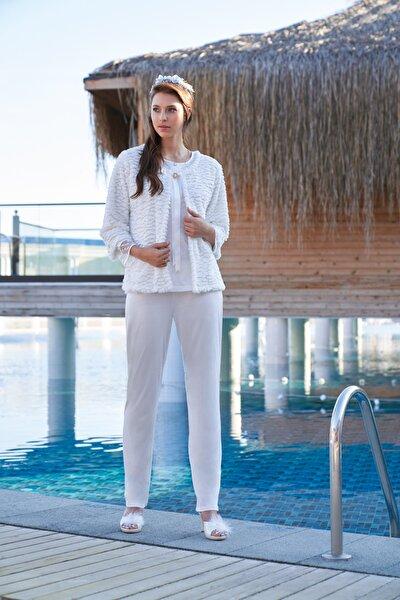 Kadın Ekru Peluş Hırkalı Üçlü Pijama Set