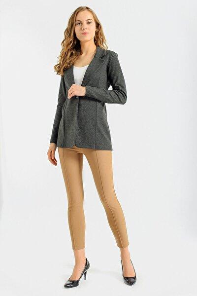 Kadın Haki Baliksrti Desenli Uzun Kol Tek Düğme Kaşe Kışlık Ceket-Haki Balıksırtı 30014