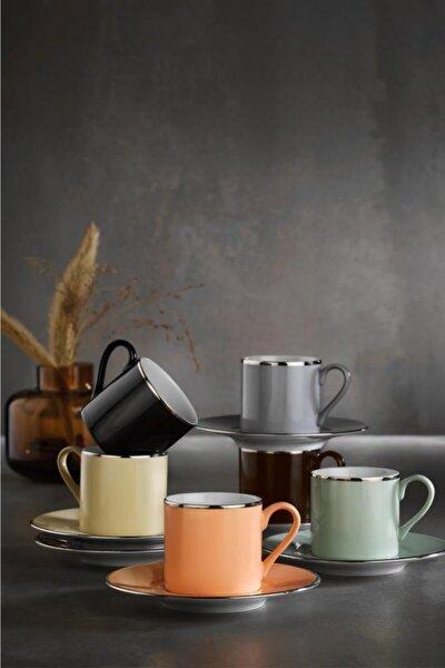 12 Parça Natürel Kahve Fincan Takımı
