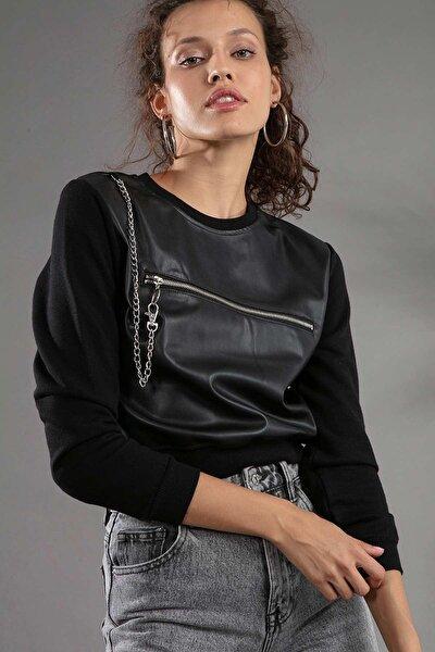 Kadın Fermuarlı Süs Cep Detaylı Deri Sweatshirt F408