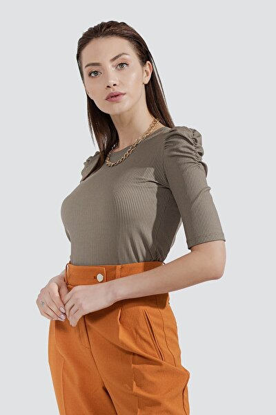 Kadın Haki Kolu Büzgülü Bluz