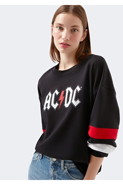 Ac Dc Baskılı Siyah Sweatshirt