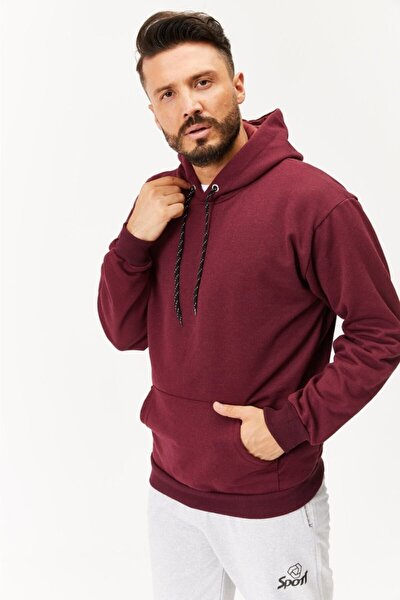 Erkek Bordo Kapüşonlu Sweatshirt