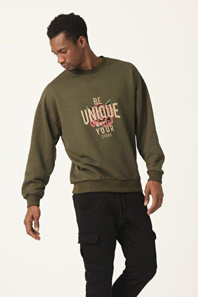 Unisex Haki Unique Baskılı Oversize Sweatshirt