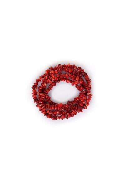 Doğal Kırmızı Mercan Taşı Kırık Dizi Doğal Taş 80 cm