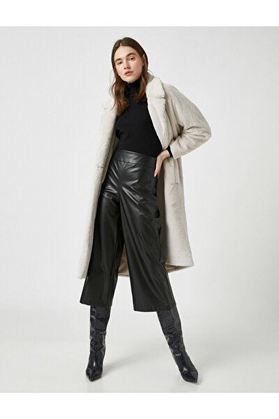 Kadın Siyah Suni Deri Görünümlü Crop Pantolon