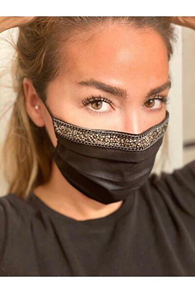 Siyah Taşlı  Pamuklu  Telli, Yıkanabilir Maske