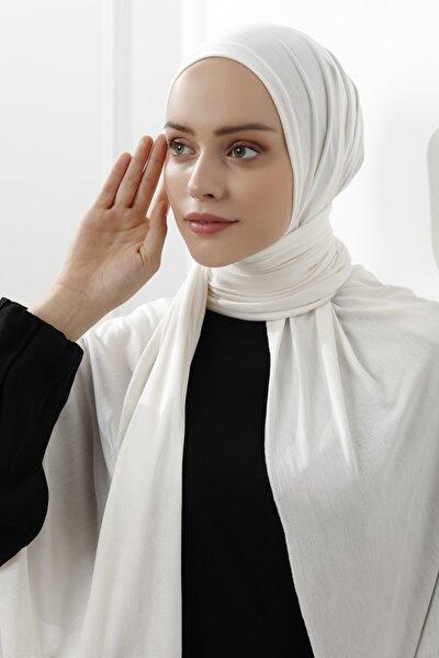 Kadın Ekru Merserize Penye Şal