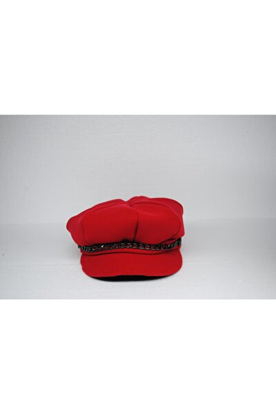 Kadın Kırmızı Kaşe Şapka