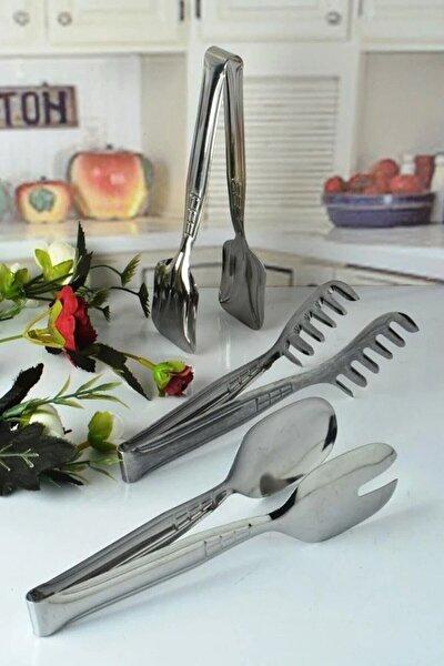 Paslanmaz Çelik 3'lü Maşa Seti Pasta Salata Ve Makarna Maşası
