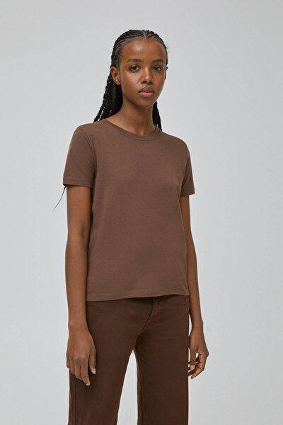 Kadın Kahverengi Basic Bisiklet Yaka T-shirt