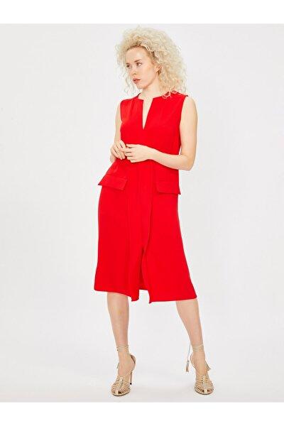 Kadın Kırmızı Rahat Kesim Krep Elbise 9109-0109