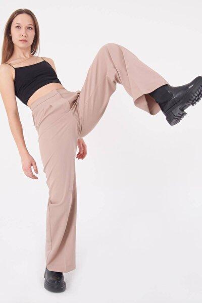 Kadın Bej Cep Detaylı Bol Pantolon PN8058 - E8 ADX-0000023058