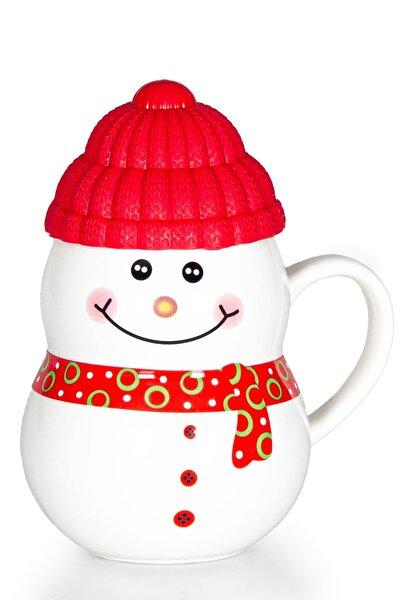 Kırmızı Kapaklı Kardan Adam Porselen Kupa