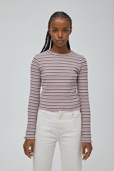 Kadın Pembe Uzun Kollu Çizgili Gofre Dokulu T-Shirt 04240430