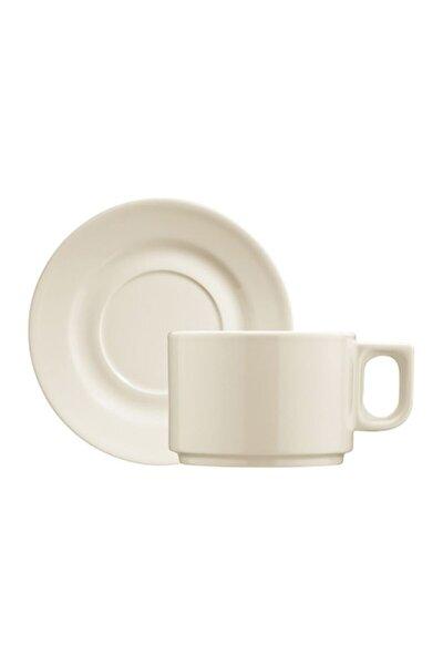 Krem Porselen Pera Çay Fincanı Tabaklı 180 cc 6 Lı