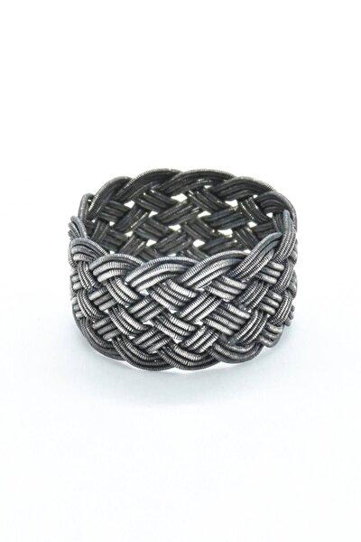 Unisex Özel Tasarım Kazaziye El Örmesi 1000 Ayar Gümüş Yüzük