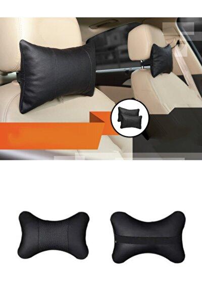 Ortopedik Deri Araç Boyun Yastığı 2 Adet (Siyah)