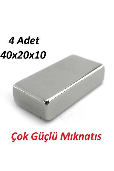4 Adet 40mm X 20mm X 10 Mm Çok Güçlü Dikdörtgen Neodyum Mıknatıs
