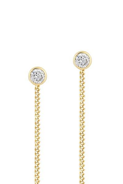 Kadın Altın Gelin Diamond 14 Ayar Tek Taşlı Sallantılı Küpe