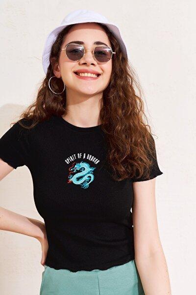 Kadın Siyah Dragon Nakışlı Fitilli T-shirt