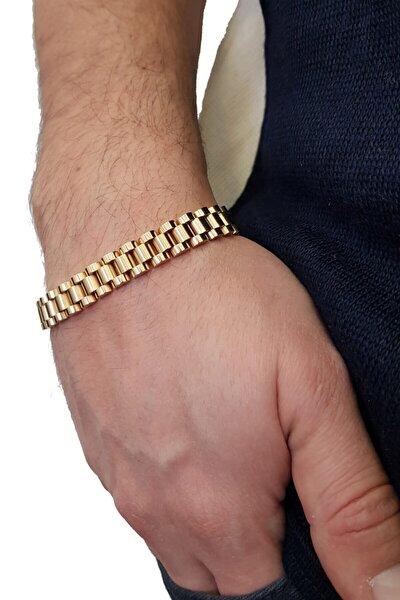 Gold 316 L Çelik Parlak Ve Mat Erkek Bileklik Ed02sr
