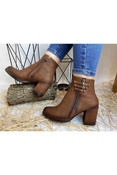 Kadın Kahverengi Taba Rengi Topuklu Bot