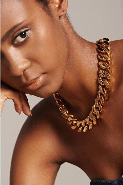 Gold Altın Kaplama Bayan Kalın Zincir Kolye Gerdanlık